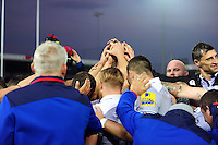 The Bath Rugby team celebrate the win after the match. Aviva Premiership match, between Exeter Chiefs and Bath Rugby on October 30, 2016 at Sandy Park in Exeter, England. Photo by: Patrick Khachfe / Onside Images