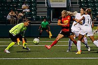 Rochester, NY - Saturday July 23, 2016: FC Kansas City goalkeeper Nicole Barnhart (18), Western New York Flash forward Adriana Leon (19) during a regular season National Women's Soccer League (NWSL) match between the Western New York Flash and FC Kansas City at Rochester Rhinos Stadium.