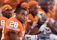 30 September 2006: Texas defender Brandon Foster (#28) and his teammates on the bench check the scoreboard during the Longhorns 56-3 victory over the Sam Houston State Bearkats at Darrell K Royal Memorial Stadium in Austin, TX.