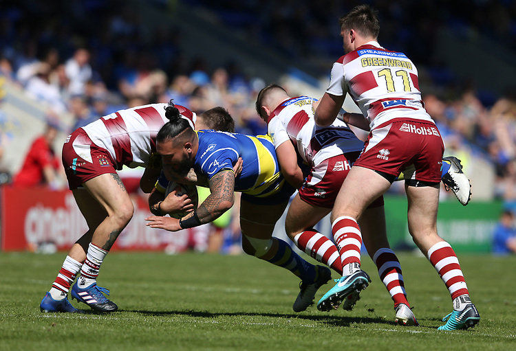 Warrington Wolves' Ben Murdoch-Masila is tackled by Wigan Warriors' Oliver Gildart (left) and George Williams <br /> <br /> Photographer Stephen White/CameraSport<br /> <br /> Rugby League - Coral Challenge Cup Sixth Round - Warrington Wolves v Wigan Warriors - Sunday 12th May 2019 - Halliwell Jones Stadium - Warrington<br /> <br /> World Copyright © 2019 CameraSport. All rights reserved. 43 Linden Ave. Countesthorpe. Leicester. England. LE8 5PG - Tel: +44 (0) 116 277 4147 - admin@camerasport.com - www.camerasport.com