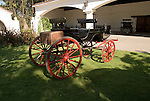 Chile Wine Country:  Horse carriage at Undurraga Winery, Vina Undurraga, near Santiago.  Historic family heirloom..Photo #: ch414-32852..Photo copyright Lee Foster, 510-549-2202, www.fostertravel.com, lee@fostertravel.com.