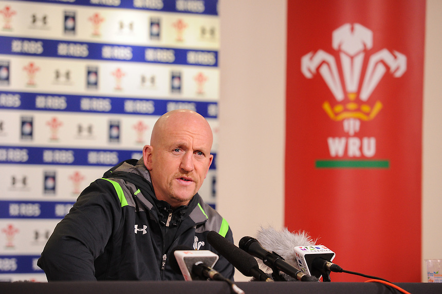 Wales Defence Coach Shaun Edwards during todays press conference <br /> <br /> Photographer Craig Thomas/CameraSport<br /> <br /> Rugby Union - 6 nations - Wales squad training - Thursday 5th Feburary - The Vale Training Complex - Vale of Glamorgan<br /> <br /> &copy; CameraSport - 43 Linden Ave. Countesthorpe. Leicester. England. LE8 5PG - Tel: +44 (0) 116 277 4147 - admin@camerasport.com - www.camerasport.com