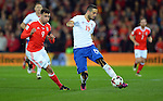 Nikola Maksimovic of Serbia  is challenged by Hal Robson Kanu of Wales during the FIFA World Cup Qualifying match at the Cardiff City Stadium, Cardiff. Picture date: November 12th, 2016. Pic Robin Parker/Sportimage