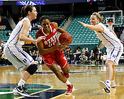 Kody Burke goes in for a layup. NC State defeated Duke 75-73 during quarter finals of the 2012 ACC Women's Basketball Tournament at the Greensboro Coliseum in Greensboro, NC. Photo by Al Drago.