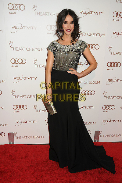 Abigail Spencer.5th Annual Art Of Elysium Heaven Gala held at Union Station, Los Angeles, California, USA, 14th January 2012..arrivals full length  black long maxi skirt top silver beaded sparkly clutch bag hand on hip .CAP/ADM/BP.©Byron Purvis/AdMedia/Capital Pictures.