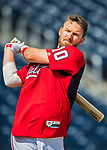 28 February 2017: Washington Nationals infielder Stephen Drew awaits his turn in the batting cage prior to the inaugural Spring Training game between the Washington Nationals and the Houston Astros at the Ballpark of the Palm Beaches in West Palm Beach, Florida. The Nationals defeated the Astros 4-3 in Grapefruit League play. Mandatory Credit: Ed Wolfstein Photo *** RAW (NEF) Image File Available ***