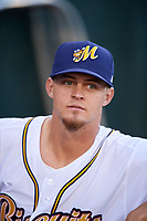 Montgomery Biscuits center fielder Braxton Lee (15) in the dugout before a game against the Mississippi Braves on April 24, 2017 at Montgomery Riverwalk Stadium in Montgomery, Alabama.  Montgomery defeated Mississippi 3-2.  (Mike Janes/Four Seam Images)