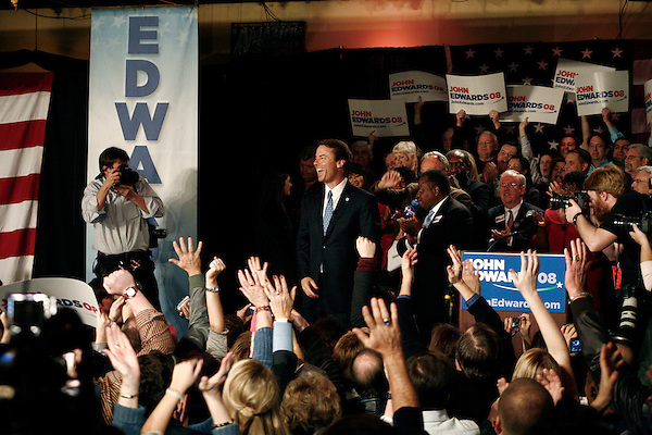 January 26, 2008. Columbia, SC.. John Edwards held a primary night party at Jillian's in Columbia. Coming a predicted 3rd place in the SC primary, he swore to continue his drive for the presidency.