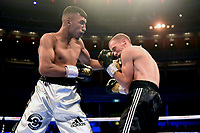 Mohammad Ali Bilal (white shorts) defeats Aleksandrs Birkenbergs during a Boxing Show at the Royal Albert Hall on 27th September 2019