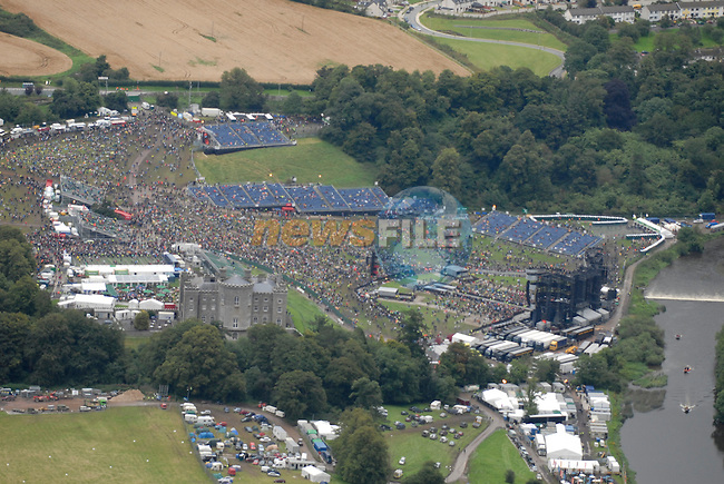 Aerial shot of the crowd at The Rolling Stones concert at Slane Castle, Co.Meath, Ireland 18th August 2007 (Photo by Eoin Clarke/NEWSFILE)