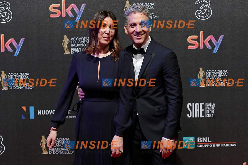 Beppe Fiorello con la moglie Eleonora Pratelli<br /> Roma 27-03-2017. Premio David di Donatello 2017.<br /> Rome March 27th 2017. David di Donatello ceremony 2017. <br /> Foto Samantha Zucchi Insidefoto
