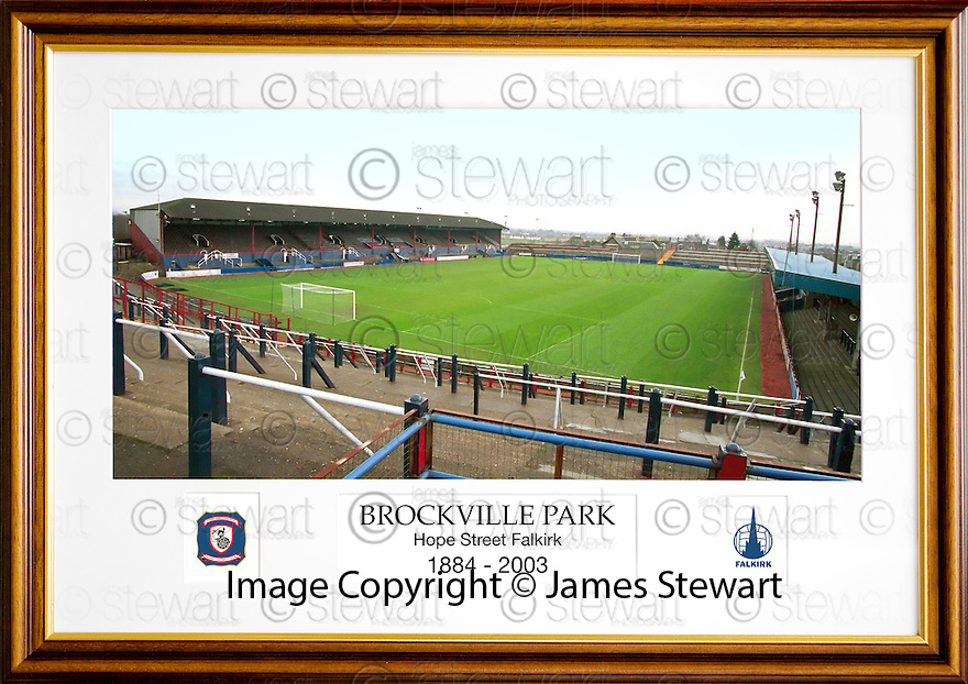 ***LAST ORDERS FOR CHRISTMAS MUST BE RECIEVED BY TUES 11TH DEC 2012***<br /> <br /> Falkirk Football Club :: Brockville Park Framed Colour Print in Classic Style Wooden Frame, with White Card Mount. Overall Frame Size 25.5&quot;x18.25&quot; (appx)
