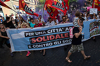 "Rome, 22/06/2019. Today, more than 15,000 people, including families and children, attended the demonstration called ""22 giugno Corteo per una città aperta, solidale e contro gli sgomberi: Roma non si chiude"" (June 22, March for an open city, solidarity and against evictions: Rome cannot be shut down, 1.). The peaceful and colourful march was held from Piazza Vittorio Emanuele II to Via dei Fori Imperiali in central Rome. The demonstration was called to protest against the planned evictions of social centres and housing occupations linked to the endless Rome's 'housing crisis' and regeneration plans. The march was also called in support of Solidarity and Social Justice, against the rising of fascism, inequalities, social exclusion, racism, sexism, intolerance, ""authoritarian intimidations"", and against the policies of the coalition Government League – Five Star Movement, especially the so-called ""Decreti Salvini / Decreti Sicurezza"" (The first Decree is now Law of the Italian Republic, Legge 1° Dicembre 2018, n. 132, http://bit.do/eE7uo; Decree Law n. 53, 14 June 2019, http://bit.do/eV3iZ), made by the Interior Minister Matteo Salvini (League - Lega, http://bit.do/eV3EP & http://bit.do/eE7Ey), accused by protesters to be racist and restrictive of civil liberties. Last but not least, the march was held to show support and solidarity with migrants, refugees, Rom and Sinti Communities, minorities, with the NGOs trying to work and save lives in the Mediterranean, and to make heard the voices of the people who have paid the crisis with the rise of exploitation, discriminations, unemployment.<br />