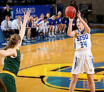 BROOKINGS, SD - JANUARY 6: Tagyn Larson #24 from South Dakota State University spots up for a jumper against North Dakota State University  during their game Saturday afternoon at Frost Arena in Brookings, SD. (Photo by Dave Eggen/Inertia)