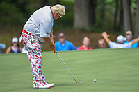 John Daly (USA) watches his putt on 15 during 1st round of the 100th PGA Championship at Bellerive Country Club, St. Louis, Missouri. 8/9/2018.<br /> Picture: Golffile | Ken Murray<br /> <br /> All photo usage must carry mandatory copyright credit (© Golffile | Ken Murray)