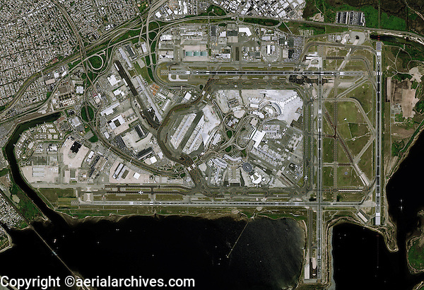 aerial photo map of John F Kennedy International airport Queens New York