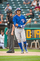 Christian Villanueva (16) of the Iowa Cubs at bat against the Salt Lake Bees in Pacific Coast League action at Smith's Ballpark on August 20, 2015 in Salt Lake City, Utah. The Cubs defeated the Bees 13-2. (Stephen Smith/Four Seam Images)