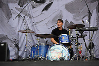 Pictured: White Lies support act. Wednesday 02 July 2014<br /> Re: Kings of Leon at the Liberty Stadium, Swansea, south Wales.