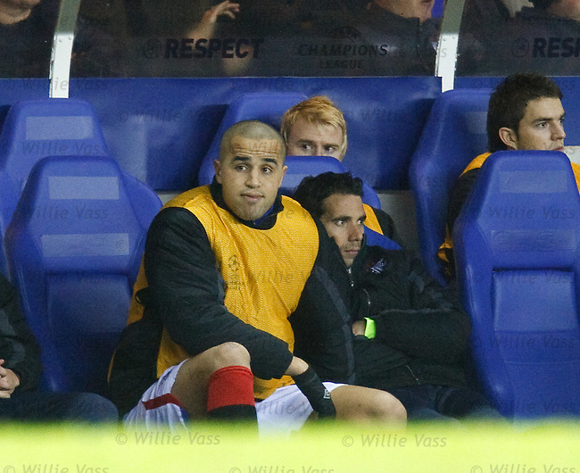 Madjid Bougherra totally fed up in the Rangers dugout