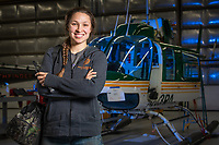UAA Aviation Maintenance Technology student Kaasan Braendel on the job maintaining helicopters at Pathfinder Aviation on Merril Field. Last spring, Braendel received the Golden Wrench Award from the University of Alaska Anchorage, Aviation Technology Divison. This award is given to the graduating student who has attained the highest achievement in academic excellence, professional conduct and demonstration of applied skills.