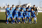 FC Khujand club's players pose for a group picture before their match with Ahly Al-Khalil football club's during the football match crucial AFC Champions League Playoff phase at Dura Stadium in the West Bank city of Hebron on Feb. 09, 2016. Mahmoud Wadi claimed the only goal of the game in the 21st minute, when he had the time and space to pick his spot after good work down the right from Khaldun Halman set him up to score from close range. Victory means Ahly Al-Khalil will feature in Group D of this season's continental championship, where they will face Bahrain's Al Muharraq, Fanja from Oman and Syrian side Al Jaish, winners of the inaugural AFC Cup in 2004. Photo by Wisam Hashlamoun