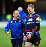 Bath Rugby first team coach Darren Edwards has a word with Jack Wilson after the match. Aviva Premiership match, between Bath Rugby and Saracens on December 3, 2016 at the Recreation Ground in Bath, England. Photo by: Patrick Khachfe / Onside Images