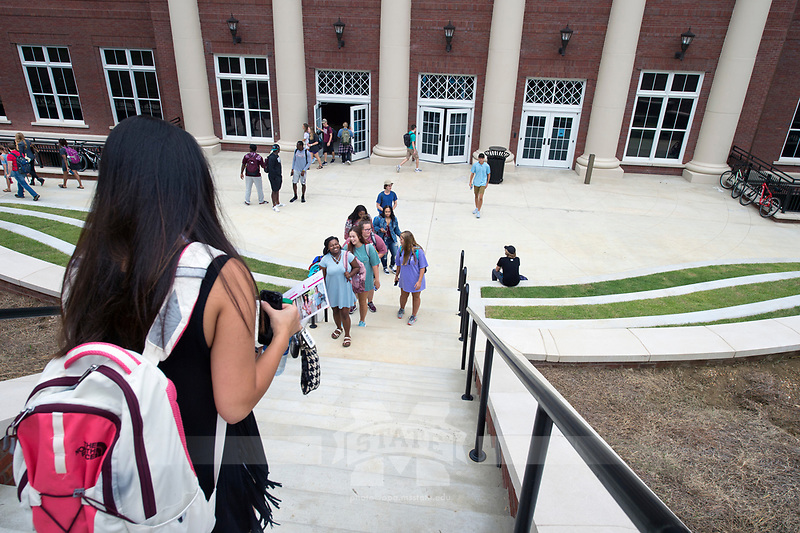 Old Main Academic Center - first day of classes.  Students walking in between classes - exterior.<br />  (photo by Megan Bean / &copy; Mississippi State University)