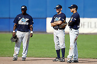 10 September 2011: Michael Duursma of Vaessen Pioniers is seen next to Zerzinho Croes and Mervin Gario during game 4 of the 2011 Holland Series won 6-2 by L&D Amsterdam Pirates over Vaessen Pioniers, in Amsterdam, Netherlands.