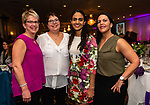 WATERBURY, CT. 13 April 2018-041318BS18 - From left, Maureen Donahue of Waterbury, Lori Stankus, of Wolcott, Monica Modi, MD, of Naugatuck, and Annie Stambouloguo of Watertown pose for a photo at the 27th Annual (TGIF) Thanks God I'm Female Women Wellness Forum put on by Waterbury Hospital at La Bella Vista on Friday evening. Bill Shettle Republican-American