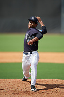 New York Yankees pitcher Roansy Contreras (29) delivers a pitch during a Florida Instructional League game against the Philadelphia Phillies on October 11, 2018 at Yankee Complex in Tampa, Florida.  (Mike Janes/Four Seam Images)