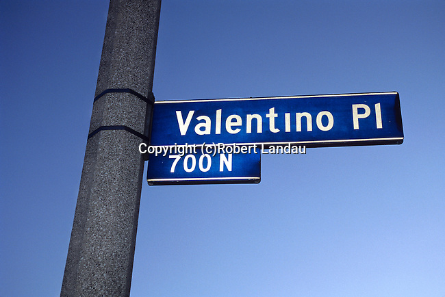 Street sign in Los Angeles commmemorating movie star Rudolf Valentino