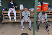 Right fielder Kyle Parker (8), center, of the Asheville Tourists before a game against the Greenville Drive on May 1, 2011, at Fluor Field at the West End in Greenville, S.C. A former quarterback and outfielder for the Clemson Tigers, Parker was the No. 1 pick of the Colorado Rockies in the 2010 First-Year Player Draft. Photo by Tom Priddy / Four Seam Images