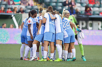 Portland, OR - Saturday August 19, 2017: Dash huddle up before the match during a regular season National Women's Soccer League (NWSL) match between the Portland Thorns FC and the Houston Dash at Providence Park.