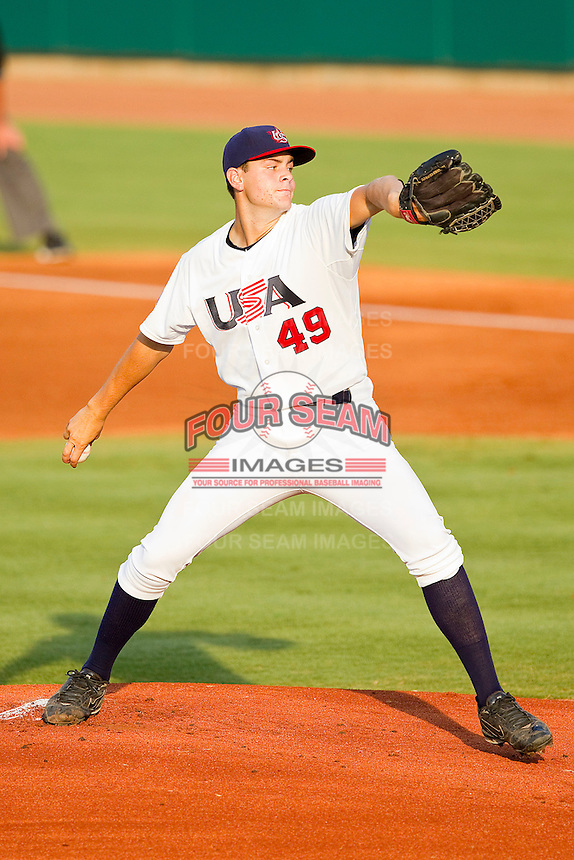 Starting pitcher Lucas Giolito #49 of the USA 18u National Team in action against the USA Baseball Collegiate National Team at the USA Baseball National Training Center on July 2, 2011 in Cary, North Carolina.  The College National Team defeated the 18u team 8-1.  Brian Westerholt / Four Seam Images