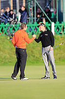 Peter Uihlein (USA) and David Howell (ENG) during the final round of the Alfred Dunhill links Championship Old Course, St Andrews, Fife, Scotland.<br /> Picture Fran Caffrey www.golffile.ie