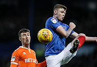 Blackpool's Chris Long competing with Portsmouth's Dion Donohue<br /> <br /> Photographer Andrew Kearns/CameraSport<br /> <br /> The EFL Sky Bet League One - Portsmouth v Blackpool - Saturday 12th January 2019 - Fratton Park - Portsmouth<br /> <br /> World Copyright © 2019 CameraSport. All rights reserved. 43 Linden Ave. Countesthorpe. Leicester. England. LE8 5PG - Tel: +44 (0) 116 277 4147 - admin@camerasport.com - www.camerasport.com