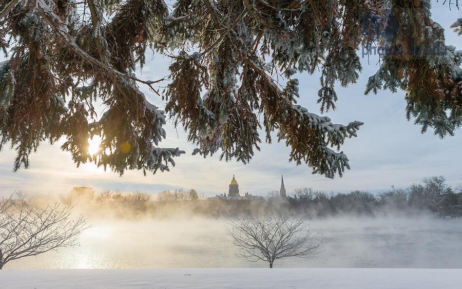 Jan. 8, 2015; St. Joseph Lake, temperature -6 degrees. (Photo by Matt Cashore/University of Notre Dame)
