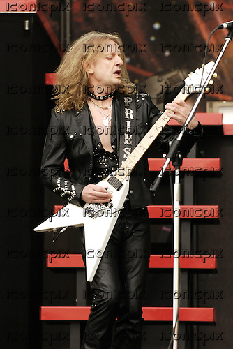 Judas Priest - guitarist KK Downing - performing live on Day One on the Main Stage at the 2008 Download Festival at Donington Park UK - 13 Jun 2008.  Photo by: George Chin/IconicPix