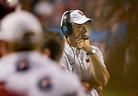 Hawgs Illustrated/BEN GOFF <br /> Paul Rhoads, Arkansas defensive coordinator, watches during the 4th quarter against Florida A&M Thursday, Aug. 31, 2017, during the game at War Memorial Stadium in Little Rock.