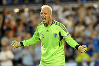 Sporting KC goalkeeper Jimmy Nielsen reacts at the final whistle... Sporting Kansas City defeated Columbus Crew 2-1 at LIVESTRONG Sporting Park, Kansas City, Kansas.
