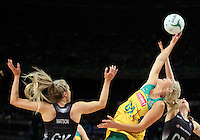 09.10.2016 Silver Ferns Jane Watson and Katrina Grant and Australia's Gretal Tippett in action during the Silver Ferns v Australia netball test match played at Qudos Bank Arena in Sydney. Mandatory Photo Credit ©Michael Bradley.