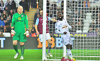 Pictured: Friday 26 December 2014<br /> Re: Premier League, Swansea City FC v Aston Villa at the Liberty Stadium, Swansea, south Wales, UK.<br /> <br /> Swansea's Nathan Dyer