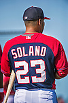 10 March 2014: Washington Nationals catcher Jhonatan Solano awaits his turn in the batting cage prior to a Spring Training game against the Houston Astros at Space Coast Stadium in Viera, Florida. The Astros defeated the Nationals 7-4 in Grapefruit League play. Mandatory Credit: Ed Wolfstein Photo *** RAW (NEF) Image File Available ***