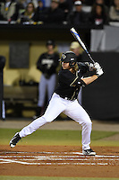 UCF Knights outfielder Derrick Salberg (17) at bat during the opening game of the season against the Siena Saints on February 13, 2015 at Jay Bergman Field in Orlando, Florida.  UCF defeated Siena 4-1.  (Mike Janes/Four Seam Images)
