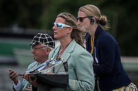 Henley Royal Regatta, Henley on Thames, Oxfordshire, 29 June-3 July 2015.  Thursday  10:45:18   30/06/2016  [Mandatory Credit/Intersport Images]<br /> <br /> Rowing, Henley Reach, Henley Royal Regatta.<br /> <br /> Official Timekeepers and the Race Reporter on the Stern of the Umpire's Launch
