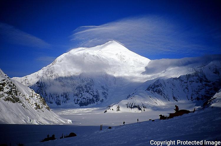 Mount Foraker above Denali's base camp, Alaska Range.