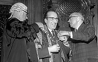 Joseph Cairns, aka Joe Cairns, Ulster Unionist, being installed as Lord Mayor of Belfast, 29th May 1969. 196905290167<br /> <br /> Copyright Image from<br /> Victor Patterson<br /> 54 Dorchester Park<br /> Belfast, N Ireland, UK, <br /> BT9 6RJ<br /> <br /> t1: +44 28 90661296<br /> t2: +44 28 90022446<br /> m: +44 7802 353836<br /> e1: victorpatterson@me.com<br /> e2: victorpatterson@gmail.com<br /> <br /> www.victorpatterson.com