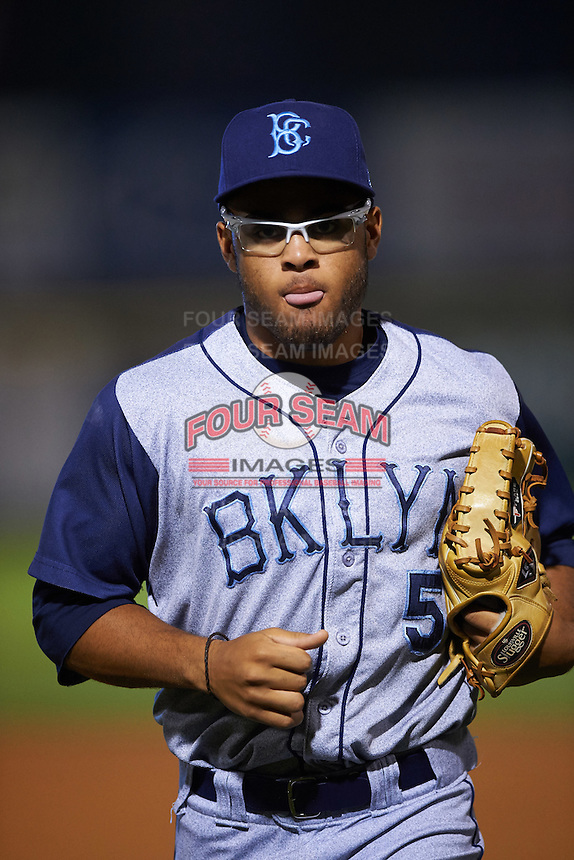 Brooklyn Cyclones outfielder Desmond Lindsay (5) jogs to the dugout during a game against the Tri-City ValleyCats on September 1, 2015 at Joseph L. Bruno Stadium in Troy, New York.  Tri-City defeated Brooklyn 5-4.  (Mike Janes/Four Seam Images)