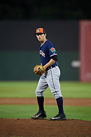 Connecticut Tigers relief pitcher Drew Carlton (30) gets ready to deliver a pitch during a game against the Auburn Doubledays on August 9, 2017 at Falcon Park in Auburn, New York.  Connecticut defeated Auburn 6-4.  (Mike Janes/Four Seam Images)