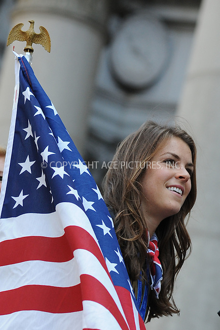 WWW.ACEPIXS.COM<br /> July 10, 2015 New York City <br /> <br /> Soccer players aboard a float in the New York City Ticker Tape Parade for World Cup Champions U.S.A. Women's Soccer National Team on July 10, 2015 in New York City.<br /> <br /> <br /> Credit: Kristin Callahan/ACE Pictures<br /> <br /> Tel: 646 769 0430<br /> e-mail: info@acepixs.com<br /> web: http://www.acepixs.com